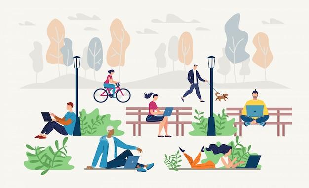Personnes En Réseau Dans Le Parc Urbain Concept De Vecteur Plat Vecteur Premium