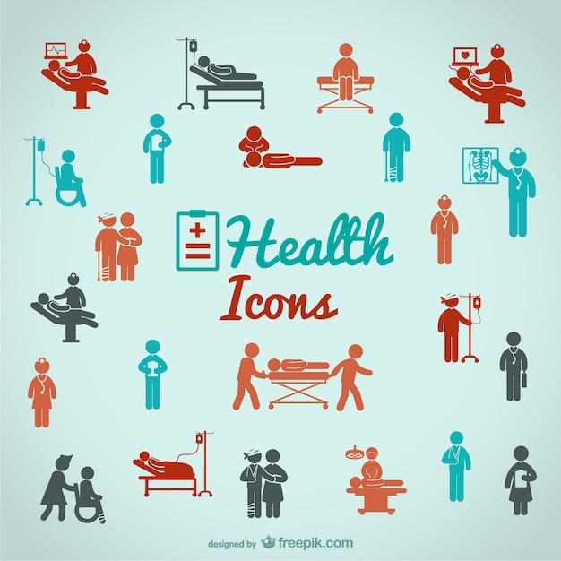 Personnes de santé icônes Vecteur gratuit