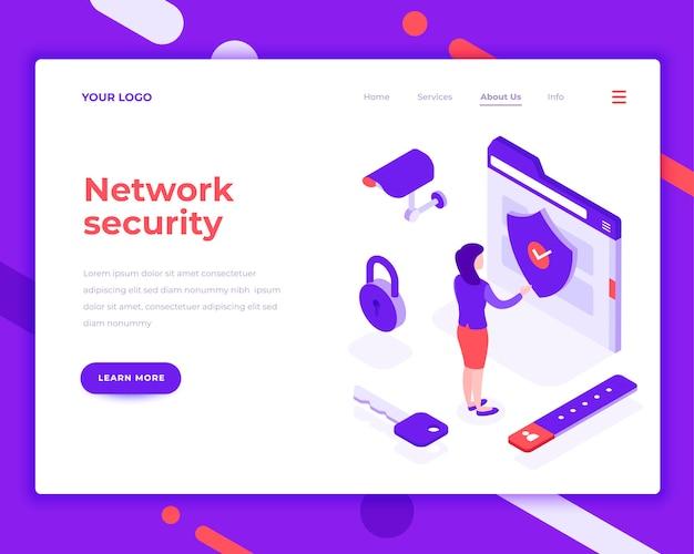 Personnes de la sécurité réseau et interagir avec le dossier Vecteur Premium