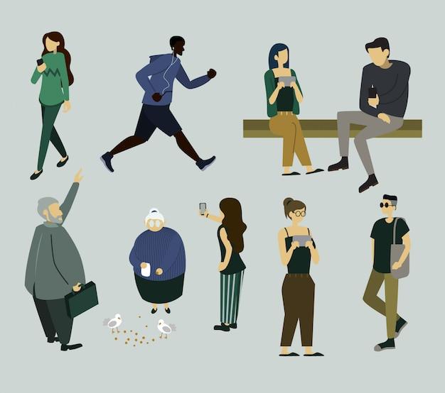 Des personnes simples et diverses préparant des activités Vecteur Premium