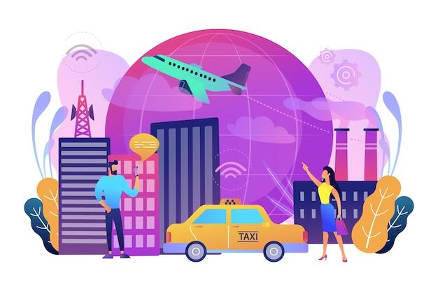 Personnes Avec Des Smartphones Autour D'installations Modernes Connectées Au Réseau Web Mondial Avec Des Signes Wi-fi Vecteur gratuit