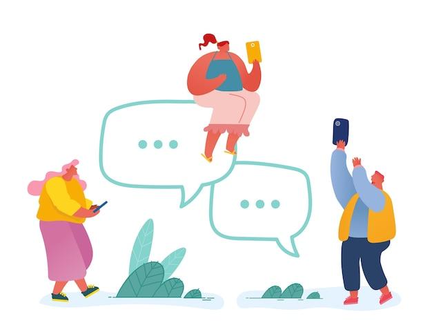 Personnes Avec Des Smartphones Et Des Bulles Vecteur Premium