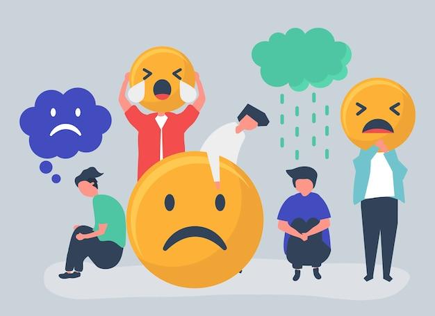 Personnes souffrant de dépression et de malheur Vecteur gratuit