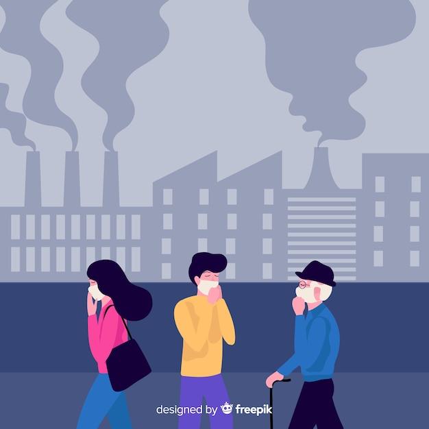 Personnes Souffrant De Fond Plat De Contamination Vecteur gratuit