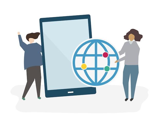 Personnes avec une tablette numérique Vecteur gratuit