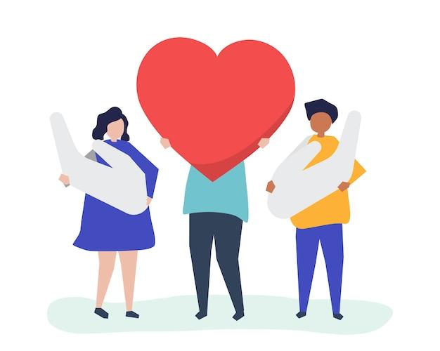 Personnes tenant des icônes coeur et main Vecteur gratuit