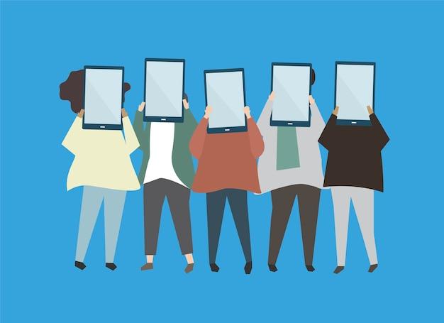 Personnes tenant des illustrations de tablettes numériques Vecteur gratuit
