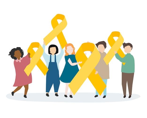 Personnes tenant un ruban jaune de sensibilisation Vecteur gratuit