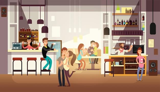 Personnes en train de déjeuner à l'intérieur du café-bar. appartement Vecteur Premium