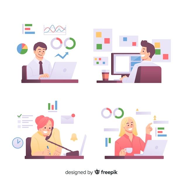 Personnes travaillant au design plat de bureau Vecteur gratuit
