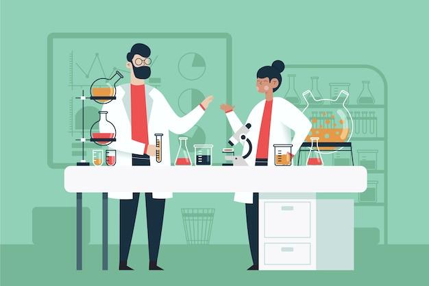 Personnes Travaillant Dans Un Laboratoire Scientifique Vecteur Premium