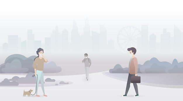 Les Personnes Tristes Souffrent De La Pollution De L'air Et Portent Des Masques De Protection. Fond De Ville De Smog Industriel Vecteur Premium