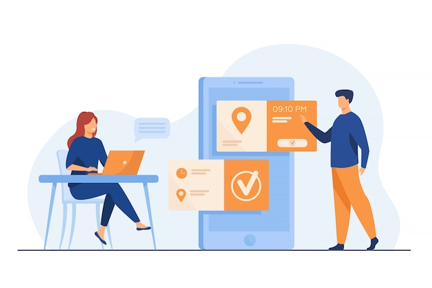 Personnes Utilisant Une Application De Prise De Rendez-vous Et De Réservation En Ligne Vecteur gratuit
