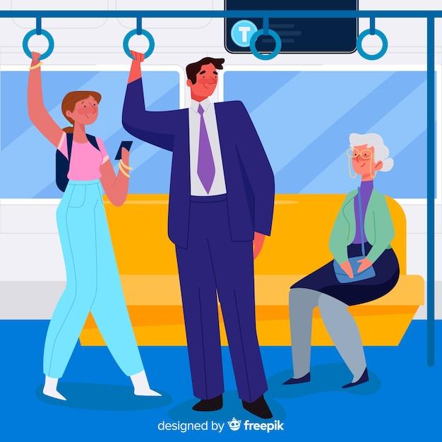 Personnes utilisant le design plat du métro Vecteur gratuit