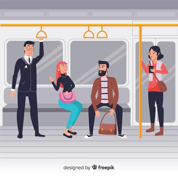 Personnes utilisant le fond de métro Vecteur gratuit