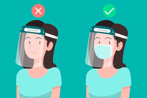 Personnes Utilisant Un Masque Facial Et Un Masque Vecteur gratuit