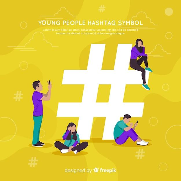 Personnes utilisant le symbole hashtag Vecteur gratuit