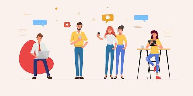 Personnes Utilisant Un Téléphone Mobile Pour La Communication Sur Un Réseau De Médias Sociaux. Vecteur Premium