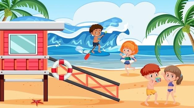 Personnes en vacances de plage d'été Vecteur Premium