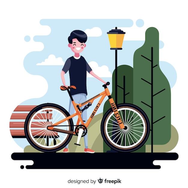 Personnes à vélo dans le parc Vecteur gratuit