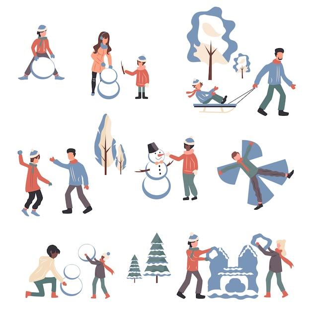 Personnes En Vêtements D'hiver Personnages De Dessins Animés Définis. Vecteur Premium