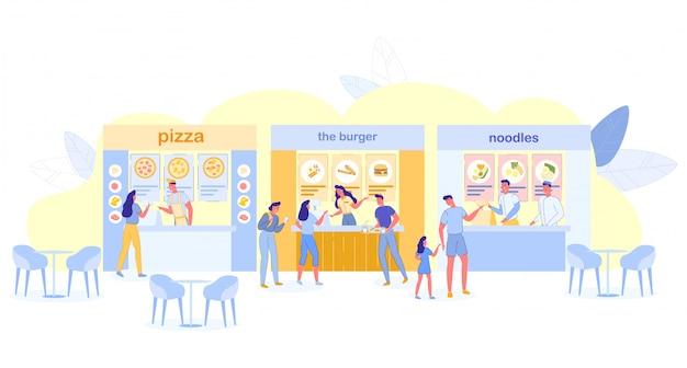Personnes visitant l'aire de restauration pour acheter de la nourriture et un café Vecteur Premium
