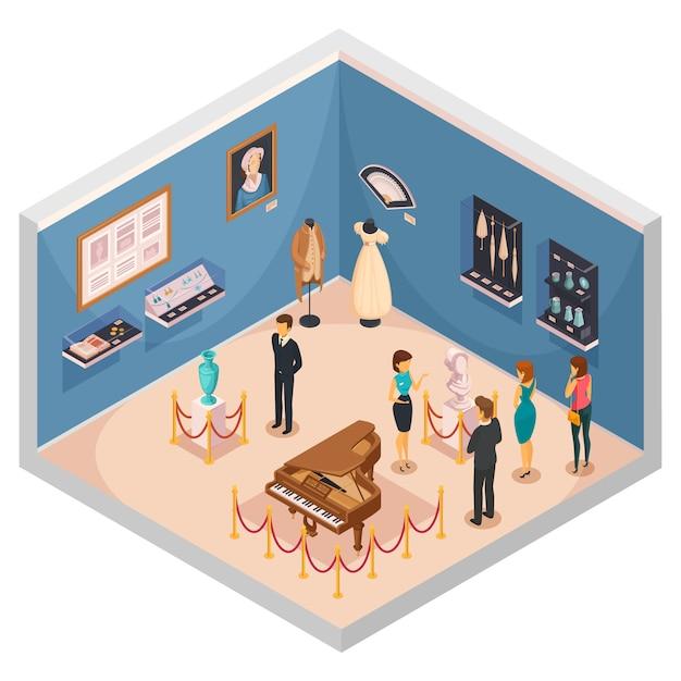 Personnes visitant un musée expose une composition isométrique Vecteur gratuit