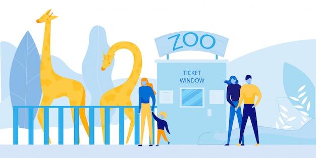 Personnes Visitant Le Zoo Avec Des Animaux Sauvages D'afrique Vecteur Premium