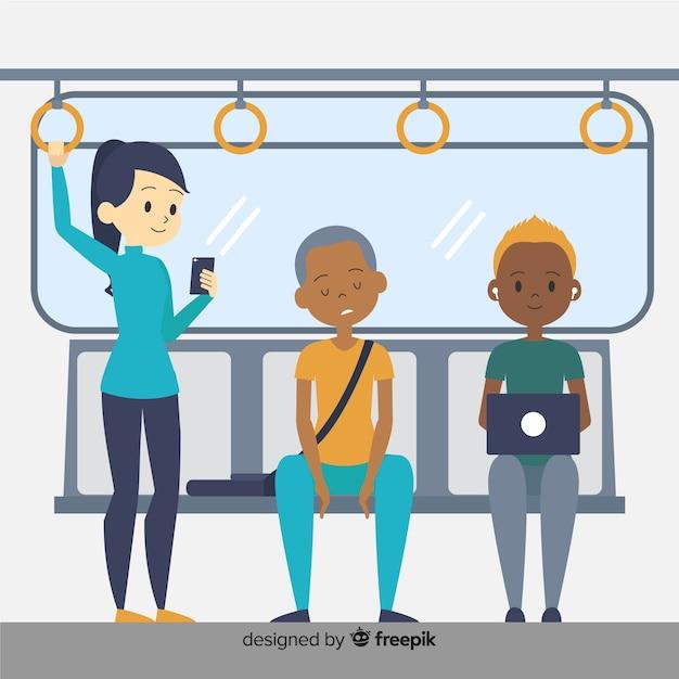 Personnes voyageant dans le métro Vecteur gratuit