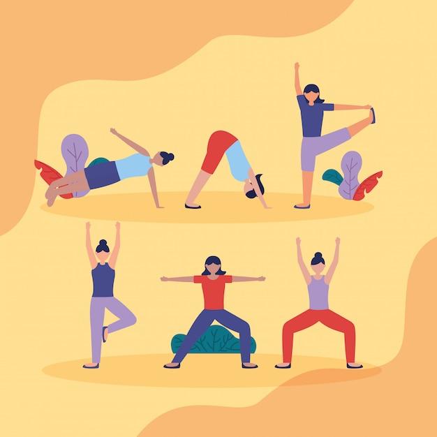 Personnes yoga en plein air dans un style plat Vecteur gratuit