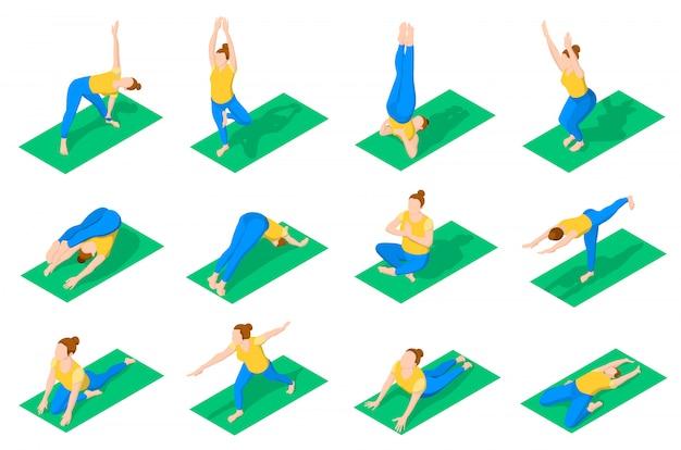 Personnes En Yoga Pose Des Icônes Isométriques Vecteur gratuit
