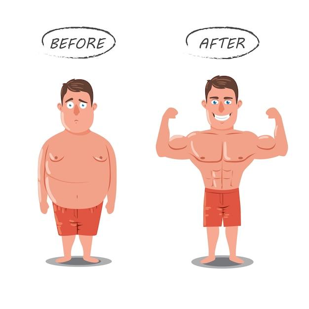 Perte de poids. fat vs slim. avant et après le concept Vecteur Premium