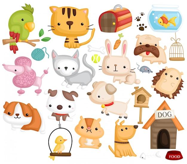 Pet image set Vecteur Premium