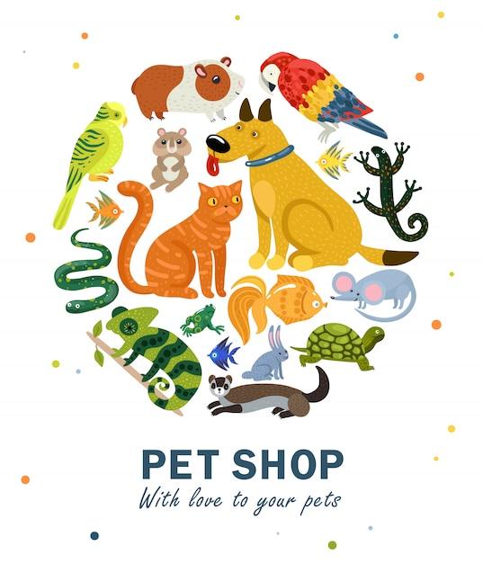 Pet shop round composition Vecteur gratuit
