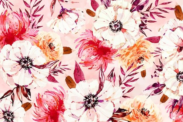 Pétales blancs floraux sur fond aquarelle Vecteur gratuit