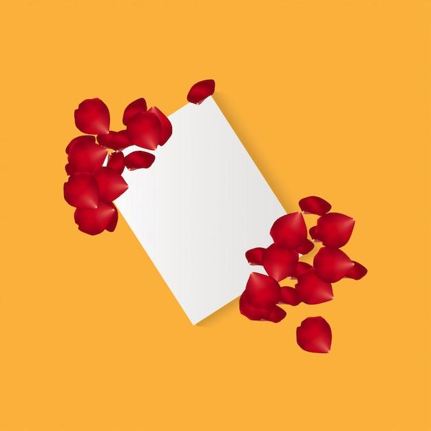 Pétales de rose avec du papier vecteur Vecteur Premium
