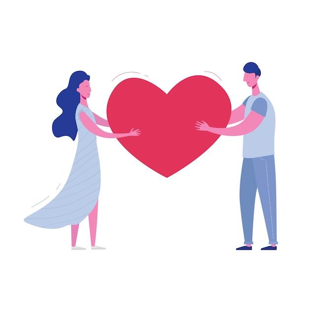 Petit Ami Et Petite Amie Tenant Le Coeur. Carte De Saint Valentin Des Amoureux, Homme Et Femme. Mignon Jeune Couple Romantique Amoureux Câlins. En Style Cartoon Plat Vecteur Premium