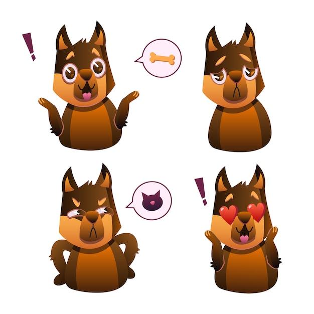 Petit animal de compagnie chien de compagnie carlin avec collier, collection d'expressions faciales emoji Vecteur gratuit