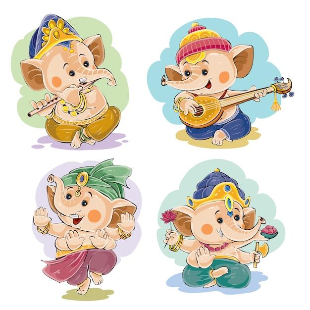 Petit Bébé Ganesha, Dieu Indien De La Sagesse Et De La Prospérité, En Costumes Traditionnels Vecteur Premium