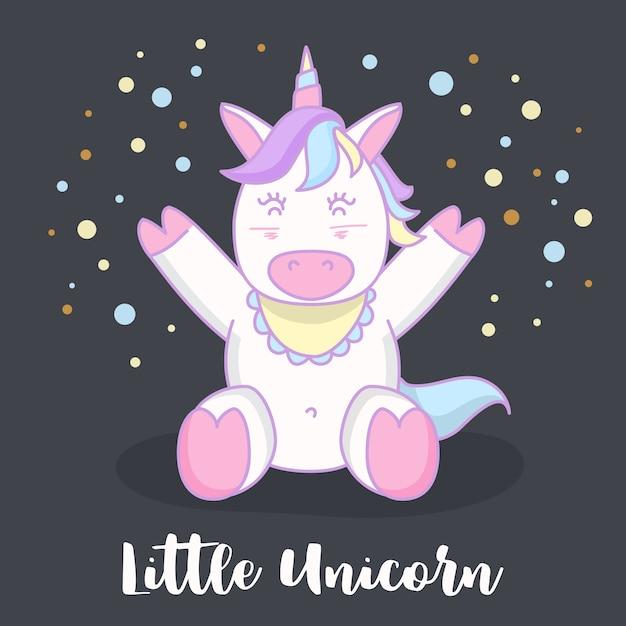 Petit bébé licorne dessin animé personnage illustration ...