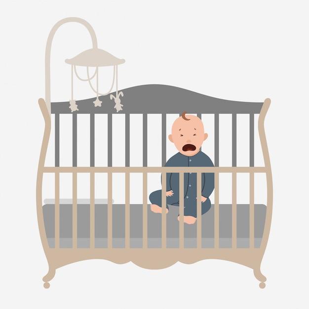 Petit bébé qui pleure dans le lit. Vecteur Premium