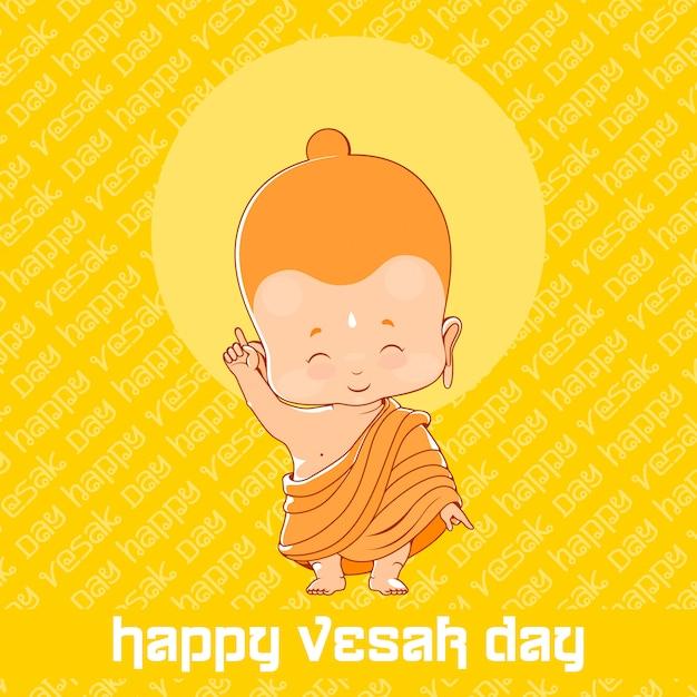 Petit bouddha en joyeux jour de vesak. carte de voeux jaune Vecteur Premium