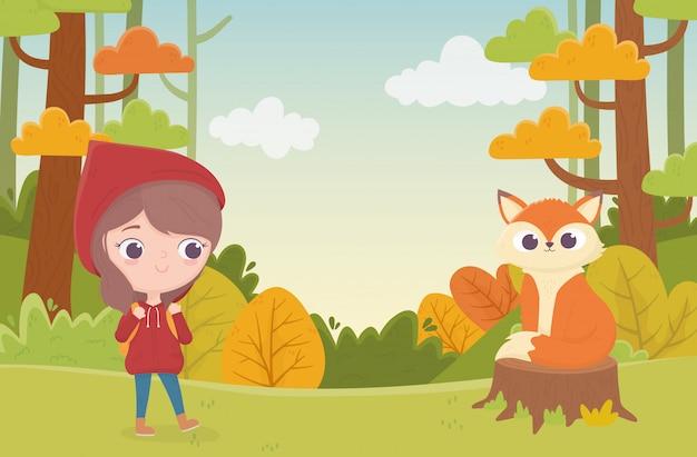 Petit Chaperon Rouge Et Loup Assis Dans L'illustration De Dessin Animé De Conte De Fées De La Forêt Du Tronc Vecteur Premium