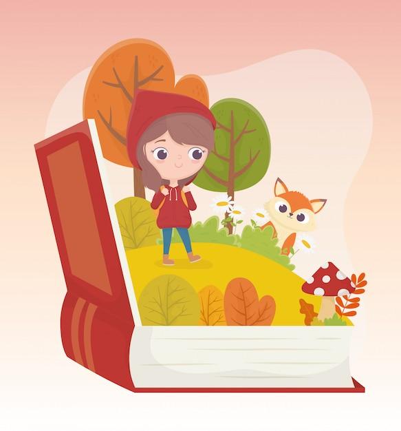 Petit Chaperon Rouge Loup Forêt Herbe Livre Illustration De Dessin Animé De Conte De Fées Vecteur Premium