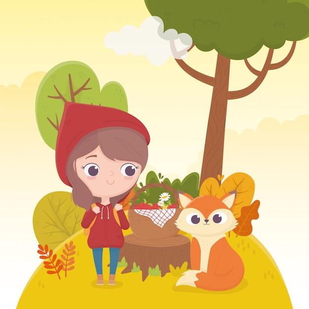 Petit Chaperon Rouge Et Loup Avec Panier Alimentaire Forêt Illustration De Dessin Animé De Conte De Fées Vecteur Premium