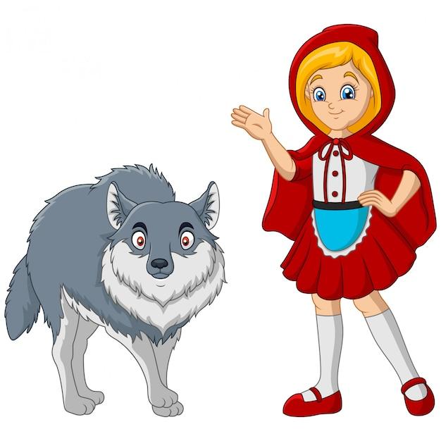 Petit Chaperon Rouge Avec Loup Vecteur Premium