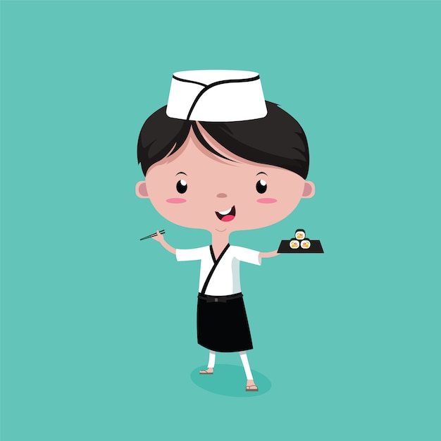 Le petit chef de sushi mignon Vecteur Premium
