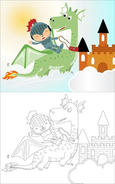 Petit chevalier drôle de bande dessinée sur dragon Vecteur Premium