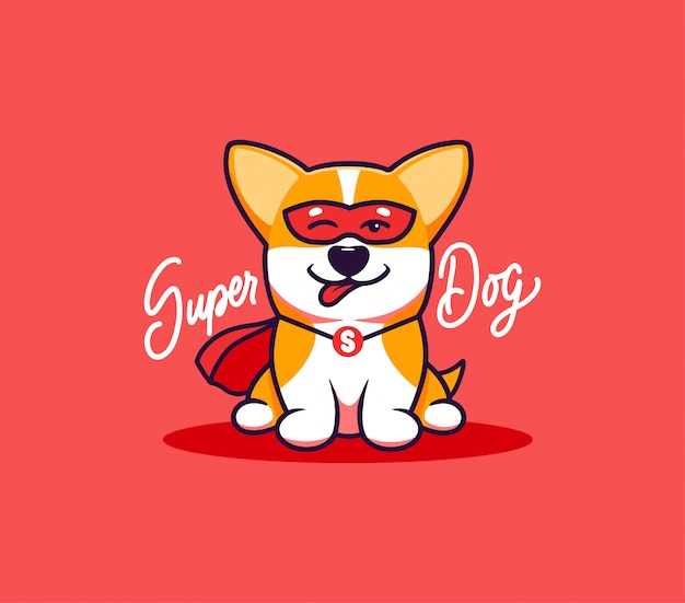 Un Petit Chien Logo Avec Texte Super Dog Personnage De Dessin Anime Drole De Corgi Vecteur Premium