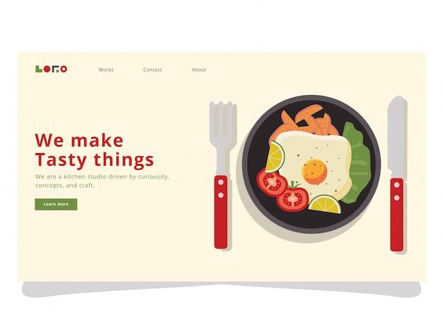 Petit Déjeuner 3 Landing Page Vecteur Premium